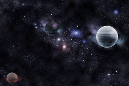 solar system: planets in fantastic space Stock Photo