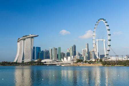 SINGAPORE - 28 februari 2015: uitzicht op Marina Bay. Marina Bay is een van de meest bekende toeristische attractie in Singapore. Redactioneel