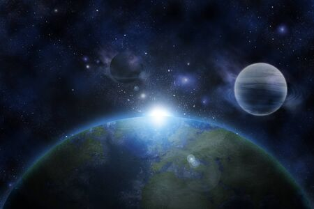 earth from space: Earth in fantastic space Stock Photo