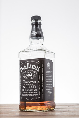 daniels: BANGKOK, THAILAND - MARCH 27, 2015: Photo of Jack Daniels whiskey. Jack Daniels is the Best selling American Tennessee whiskey.