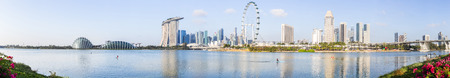 SINGAPORE - FEBRUARY 28, 2015: Panorama view of Marina Bay. Marina Bay is one of the most famous tourist attraction in Singapore.