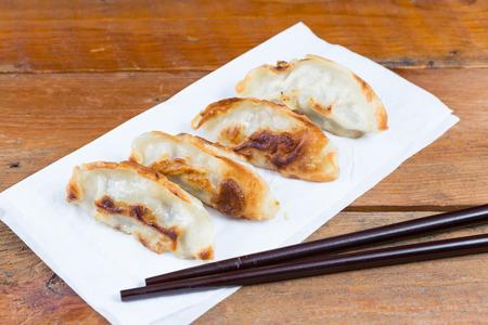 gyoza: Fresh Gyoza with sauce Stock Photo