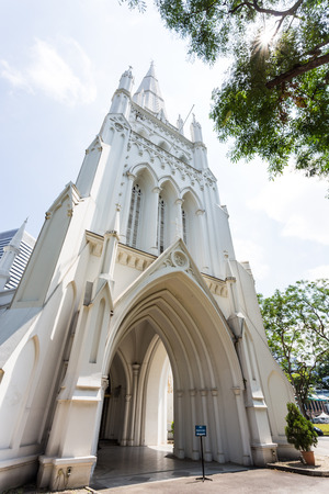 andrews: SINGAPORE - FEBRUARY 27, 2015: Day scene of St Andrews Cathedral in Singapore. St Andrews Cathedral is one of the famous tourist attraction in Singapore.