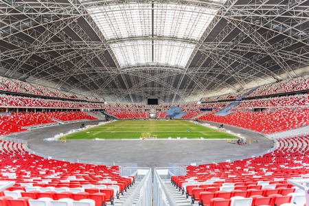 SINGAPORE - FEBRUARY 28, 2015: Interior view of Singapore National Stadium. Singapore National Stadium is a 55,000 seats multi-purpose arena which has a retractable roof. Editorial