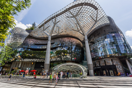 SINGAPORE - FEBRUARY 28, 2015: Day scene of ION Orchard shopping mall on 28 February 2015.ION is one of famous shopping malls in Singapore.