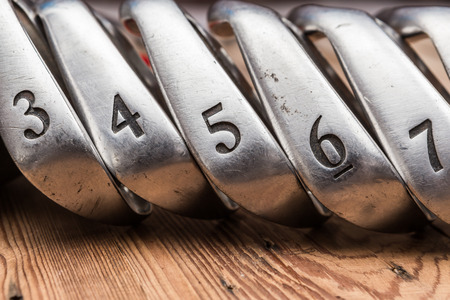 set of golf irons Stock Photo