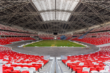 singapore: SINGAPORE - FEBRUARY 28, 2015: Interior view of Singapore National Stadium. Singapore National Stadium is a 55,000 seats multi-purpose arena which has a retractable roof. Editorial