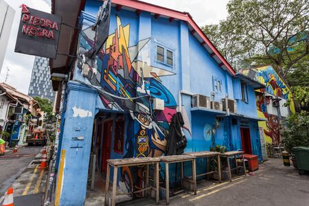 decorative wall: SINGAPORE - MARCH 2, 2015: Decorative wall painting at Haji lane, Singapore. Haji lane is the famous boutique shopping lane in Singapore. Editorial