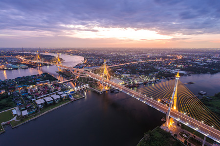 bhumibol: Sunset Scene at Bhumibol Bridge in Bangkok Stock Photo