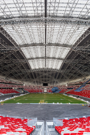 retractable: SINGAPORE - FEBRUARY 28, 2015: Interior view of Singapore National Stadium. Singapore National Stadium is a 55,000 seats multi-purpose arena which has a retractable roof. Editorial