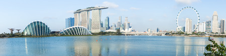 singapore: SINGAPORE - FEBRUARY 28, 2015: Panorama view of Marina Bay. Marina Bay is one of the most famous tourist attraction in Singapore.