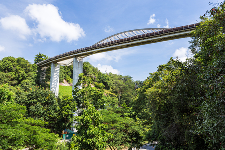 ridge of wave: SINGAPORE - MARCH 1, 2015: Day scene of Henderson wave bridge, Singapore. Henderson wave bridge is one of the most attractive pedestrian bridge in Singapore.