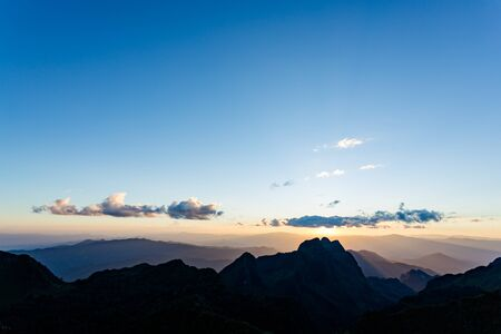 on the sky background: Sunset scene with silhouette mountain at Doi Luang Chiang Dao, Chiang Mai Province, Thailand