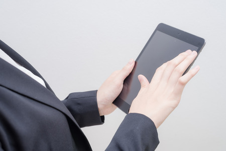 use computer: hand use computer tablet Stock Photo