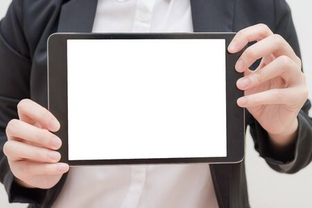 blank tablet: business woman show blank tablet