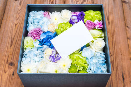 blank note: blank note on flowers in the box