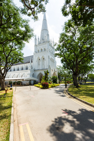 SINGAPORE - FEBRUARY 27, 2015: Day scene of St Andrews Cathedral in Singapore. St Andrews Cathedral is one of the famous tourist attraction in Singapore.