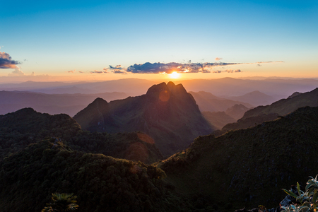Sunset scene of mountain at Doi Luang Chiang Dao, Chiang Mai Province, Thailand. Stock Photo