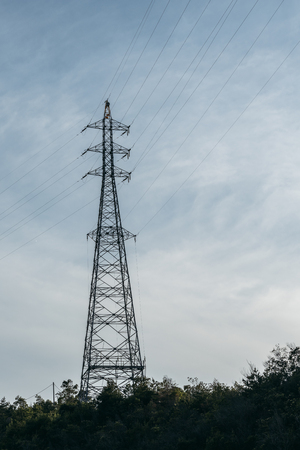 high voltage electric pole Stock Photo
