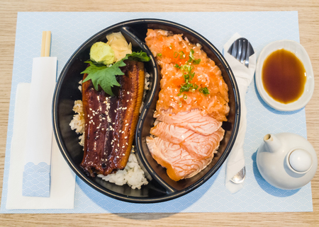 kabayaki and raw salmon with japanese rice