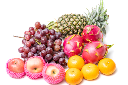 various fruits including apple, pineapple, grape, orange, pitaya.