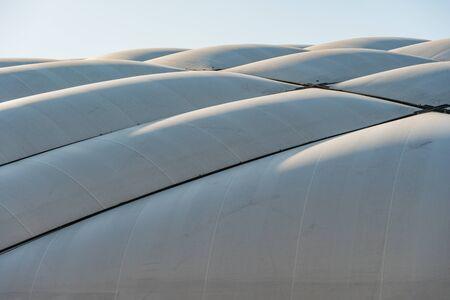 white fabric roof