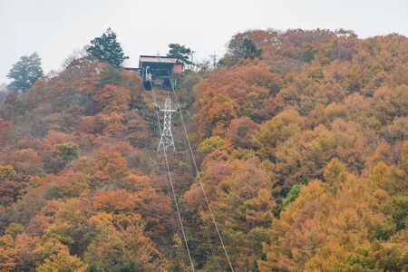 Kawaguchi ropeway with Autumn yellow trees Stock Photo