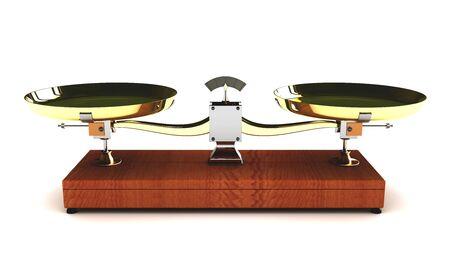 overbalance: illustration of balance scales on white background