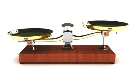 overbalance: illustration of unbalanced scales on white background Stock Photo