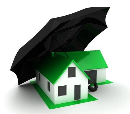 ortseingangsschild: Kleines grünes Haus mit schwarzem Regenschirm