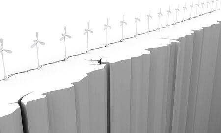 precipice: 3d. Wind turbine on the brink of a precipice