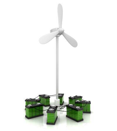 regenerating: Wind turbine and accumulators Stock Photo