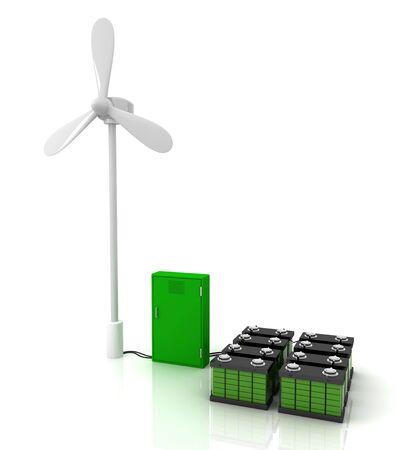 regenerating: Wind turbine and stun gun and two green accumulators