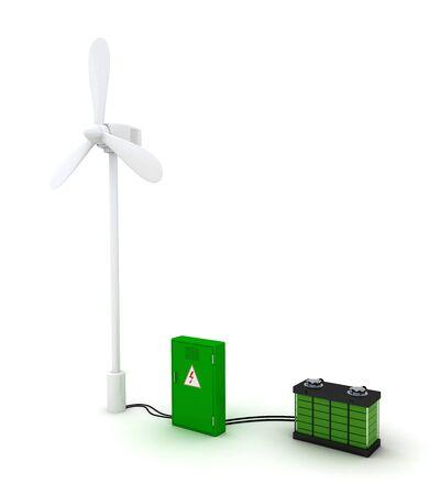 regenerating: Wind turbine and charged accumulator.
