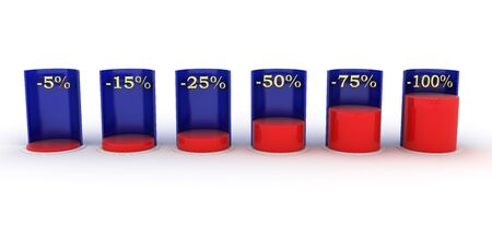 quoted: Bar Graph. red and blue. negative interest Stock Photo