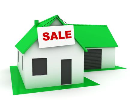 Klein whte huis met groendak te koop Stockfoto