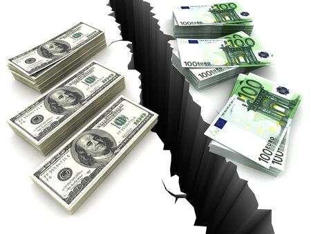 Dollar and Euro between them a precipice. 3D render