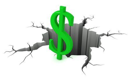disharmony: Green dollar symbol near the precipice. 3d render. Stock Photo