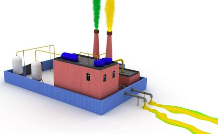 sewer: 3D Chemical plant polluting the environment, left