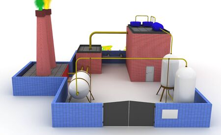sewer: 3D Chemical plant with blue fence