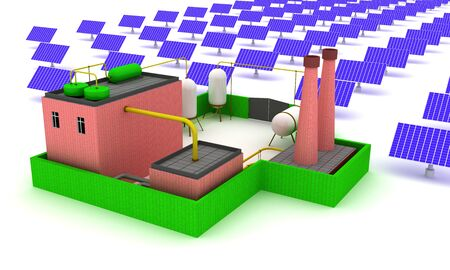 3D Plant energy with solar panels