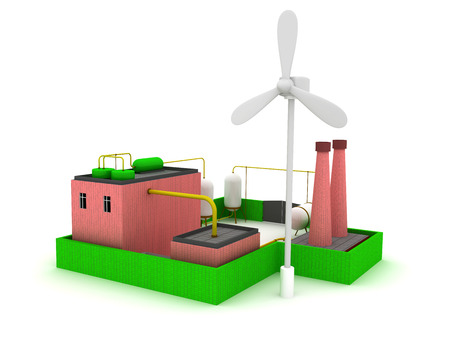 stove pipe: 3d Factory energy efficiency with windmill.
