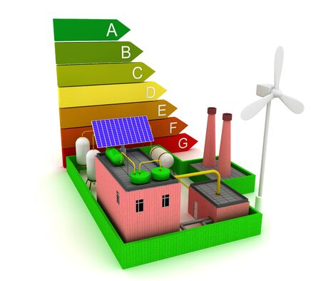 3d Factory energy efficiency with windmill, solar panel and scale energy efficiency.
