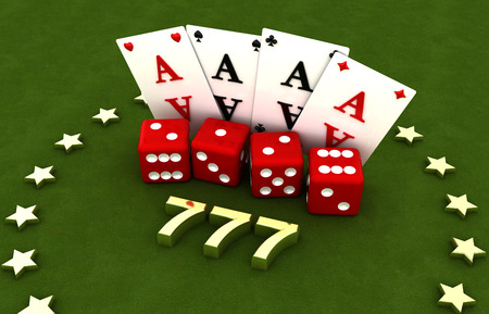Gambling, four cards and four cubes, stars, seven Stock Photo