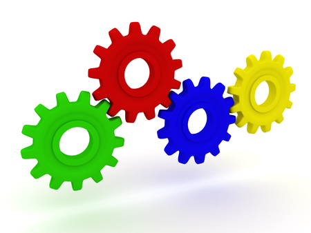 3d Four coloured gears stand.