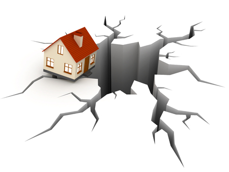 3d Little falling house over a hole. Stock Photo