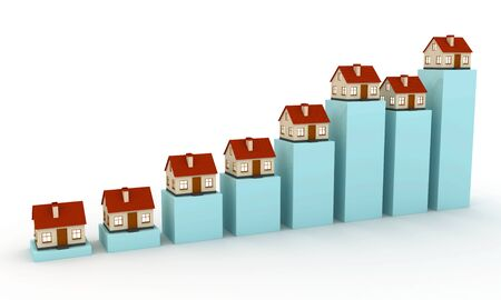 3d small houses on the chart