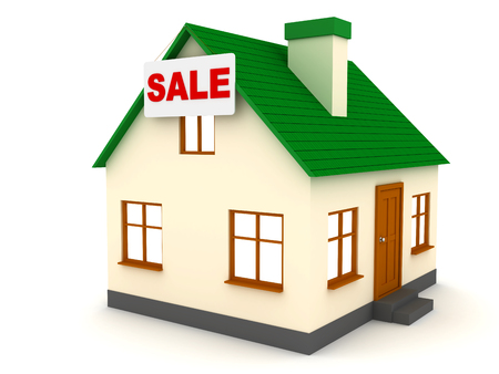 3d Little house with green roof for Sale Stock Photo
