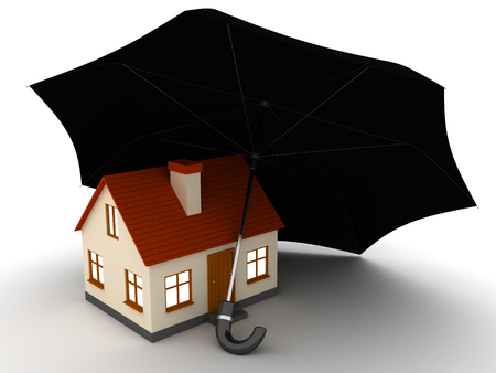 Little red house with black umbrella 3d