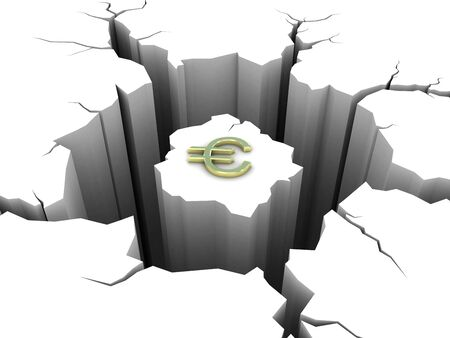 pit fall: Symbol euro and circular hole in the ground Stock Photo